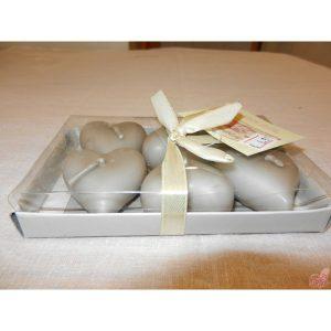 confezione  candeline cuore color tortora