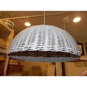 lampadario in midollino bianco anticato