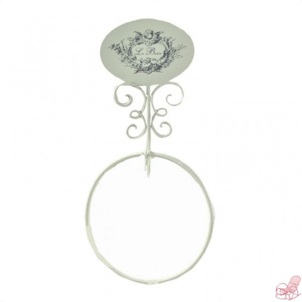 Porta asciugamani ad anello da appendere in ferro bianco - Cuore da appendere alla porta ...