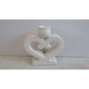 porta candela cuore bianco in ceramica