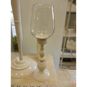 portacandela ferro bianco e vetro