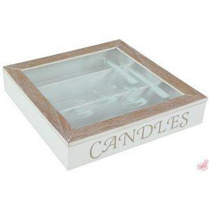 scatola porta candele in legno