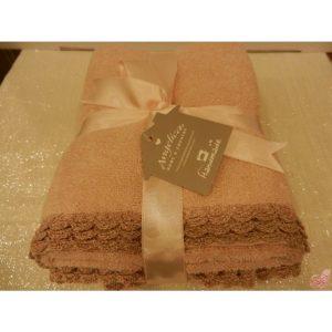 set  asciugamani avorio con roselline crochet avorio tortora