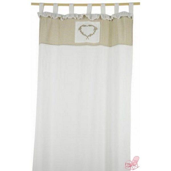 tenda bianco panna con decoro quadretti e cuore