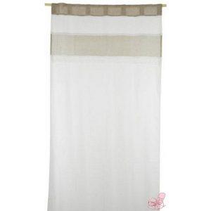 tenda in lino  bianca con striscia sabbia e pizzo