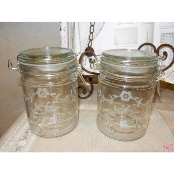 barattolo in vetro decoro foglioline con chiusura ermetica