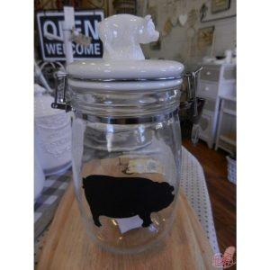 barattolo vetro con tappo in ceramica decoro maialino
