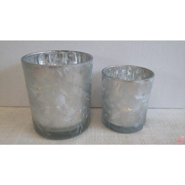 bicchiere porta tealight in vetro rosso satinatoe