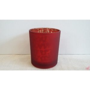 bicchiere porta tealight in vetro rosso satinatos