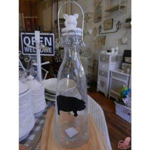 bottiglia lt  in vetro con tappo ermetico in ceramica decoro maialino