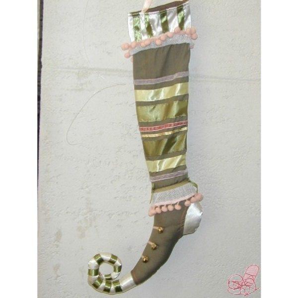 calza in cotone e raso colore verde