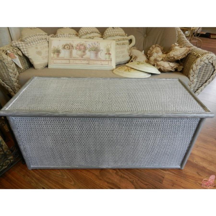 cassapanca in rattan grigio anticato mis 100x42 h 45 cm