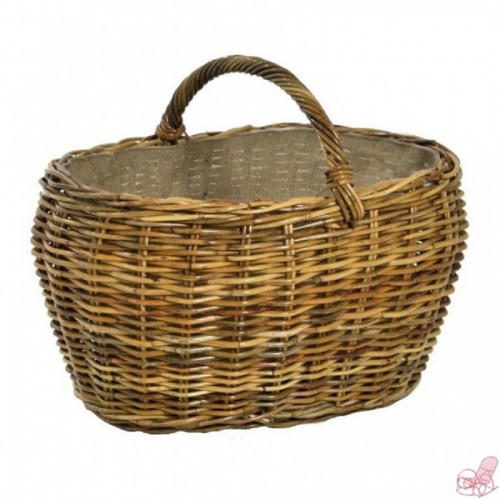 cesta porta legna in giunco con manico e fodera juta