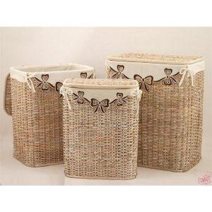 cesto portabiancheria in corteccia di bamboo sbiancato