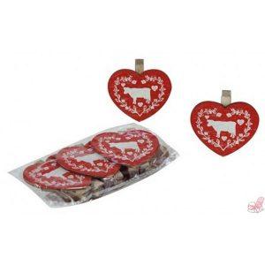 confezione  mollette cuore rosso disegno mucca