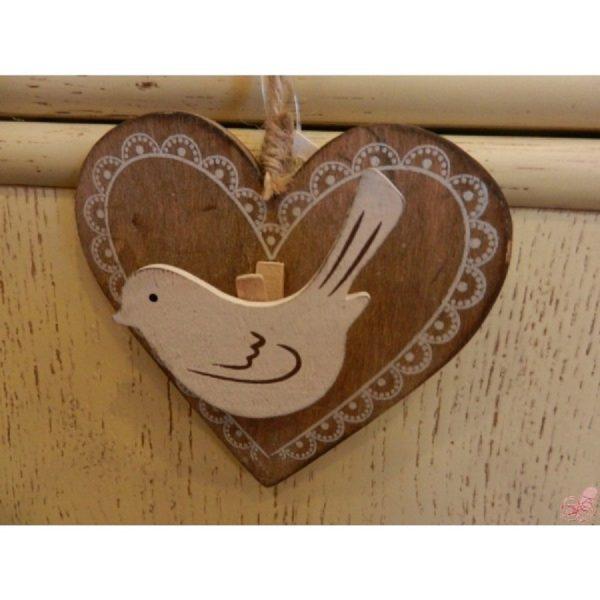 cuore con clip da appendere decoro uccellino