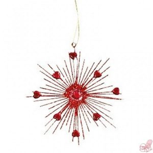 decorazione stella rossa glitter da appendere