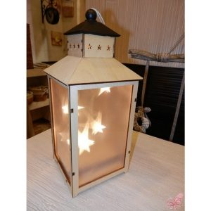 lanterna legno naturale stelline luminose