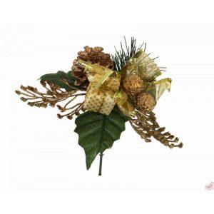 pick bacche e foglie oro h  cm