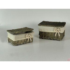 scatola in vimini grigio decapato con fodera ecru
