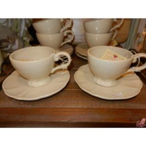 servizio  tazze the con piattino in ceramica beige