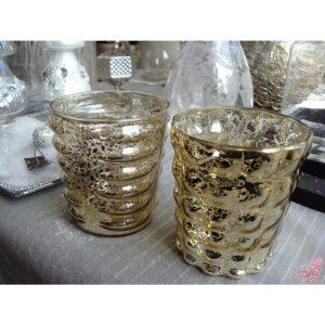 set  portacandele in vetro dorato sia