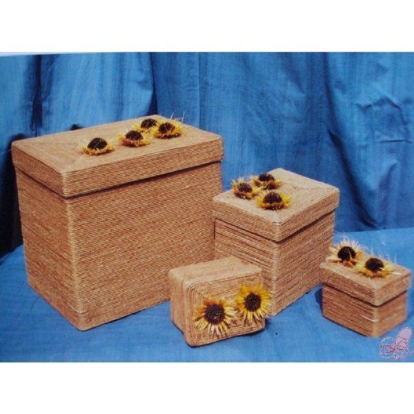 set  scatole rettangolari decoro fiori