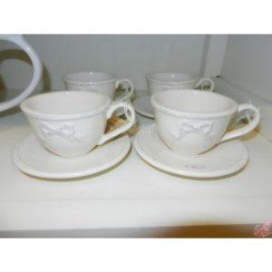 set  tazze caffe con piattino in ceramica panna decoro fiocco