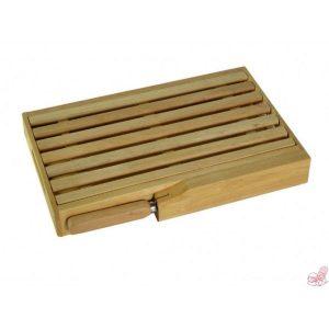tagliere per pane con coltello in legno naturale