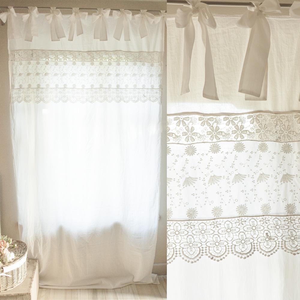 Tende A Vetro Bianche.Tenda In Cotone Colore Bianco Con Fascia In Pizzo