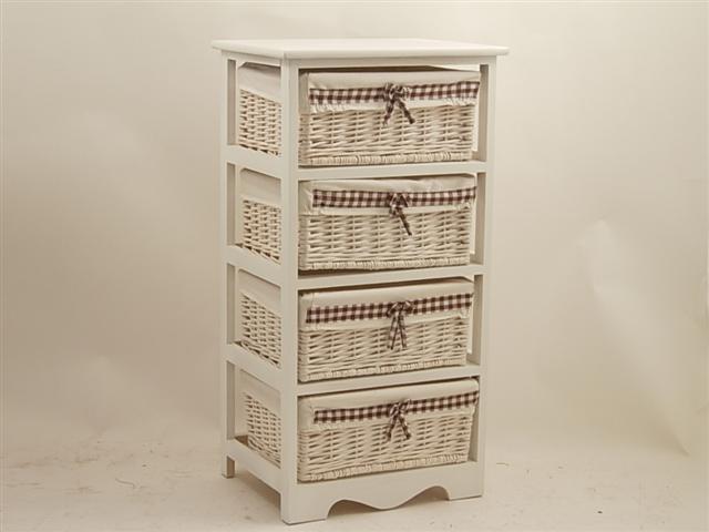 Cassettiera bianca 4 cassetti in legno e vimini - Cestenolvetri