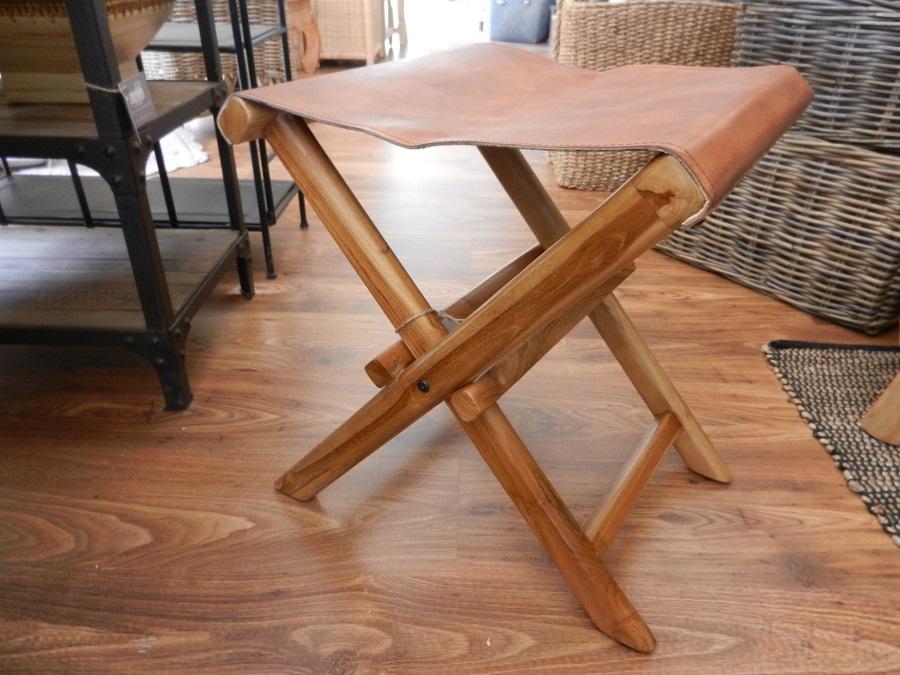 Sgabello In Legno Pieghevole : Sgabello pieghevole in legno di teak e pelle cestenolvetri