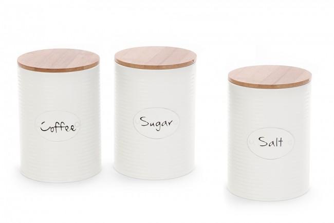 Set 3 barattoli cucina in latta crema con coperchio in legno ...