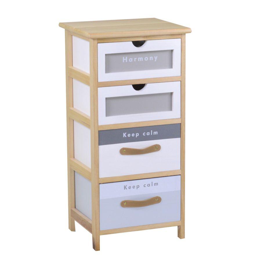Mobiletto legno 4 cassetti bianco grigio e naturale