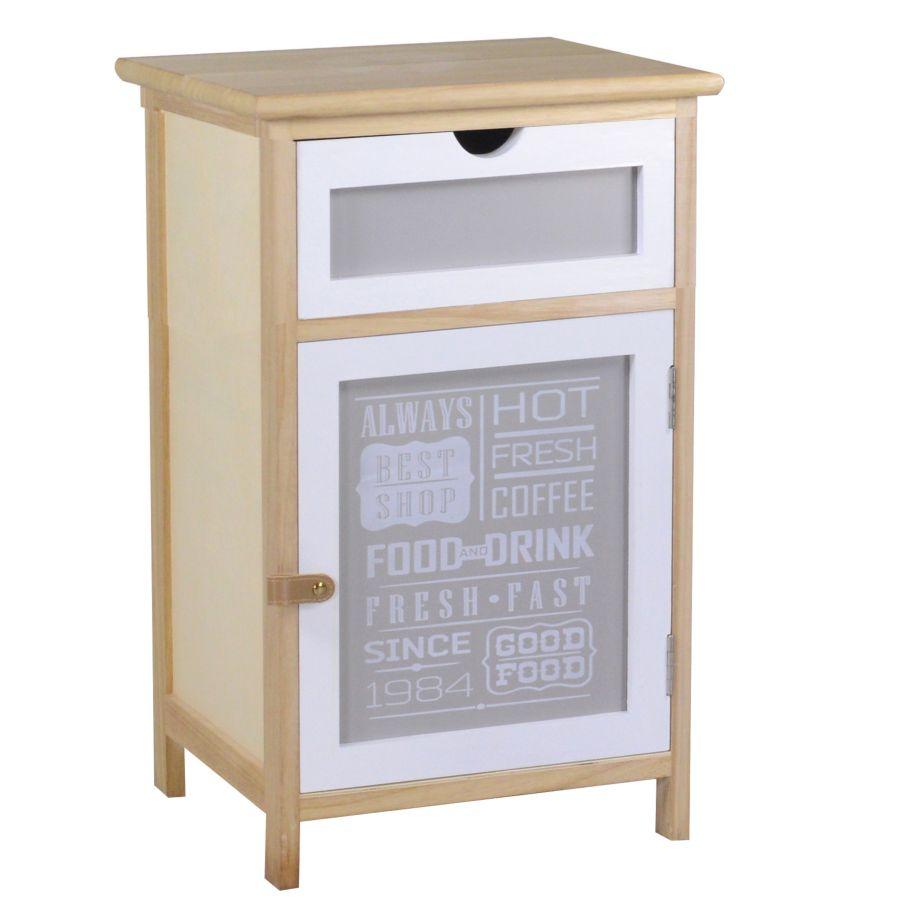 Mobiletto legno 1 anta + 1 cassetto bianco grigio e naturale