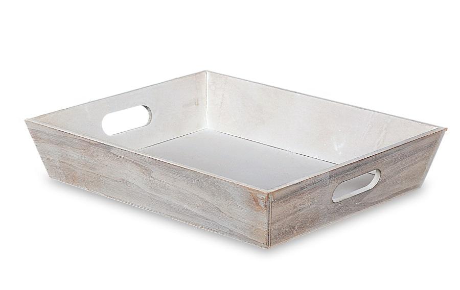 Vassoio in legno bianco decapato 38X30 H 7,5
